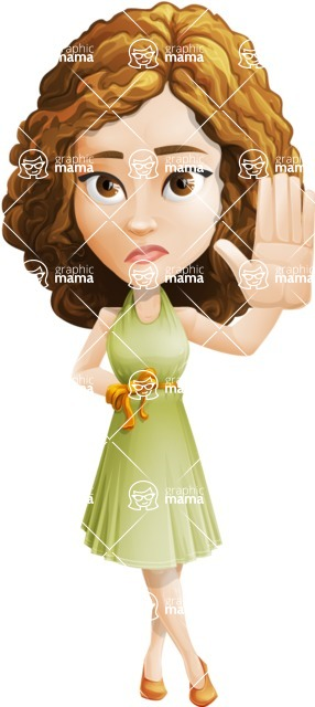 Vector Sweet Lady Cartoon Character - Goodbye