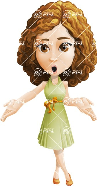 Vector Sweet Lady Cartoon Character - Oops