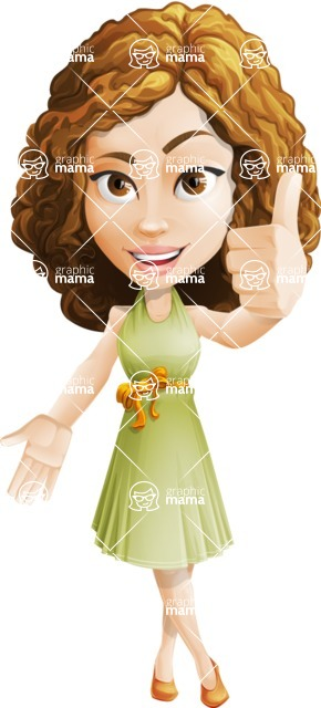 Vector Sweet Lady Cartoon Character - Thumbs Up