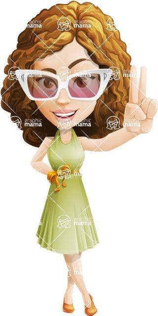 Vector Sweet Lady Cartoon Character - Sunglasses
