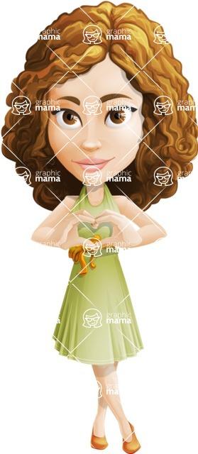 Vector Sweet Lady Cartoon Character - Show Love