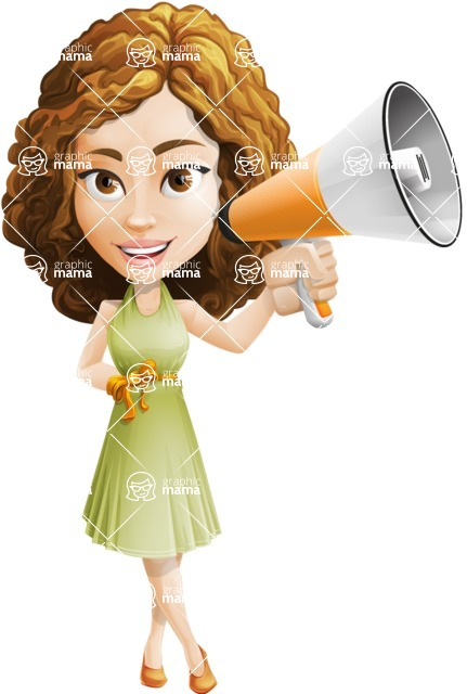 Vector Sweet Lady Cartoon Character - Loudspeaker