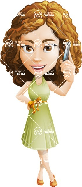 Vector Sweet Lady Cartoon Character - Support 1