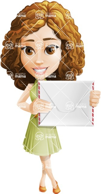 Vector Sweet Lady Cartoon Character - Letter
