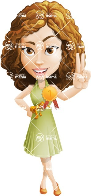 Vector Sweet Lady Cartoon Character - Ribbon