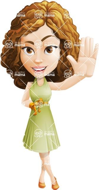 Vector Sweet Lady Cartoon Character - Wave