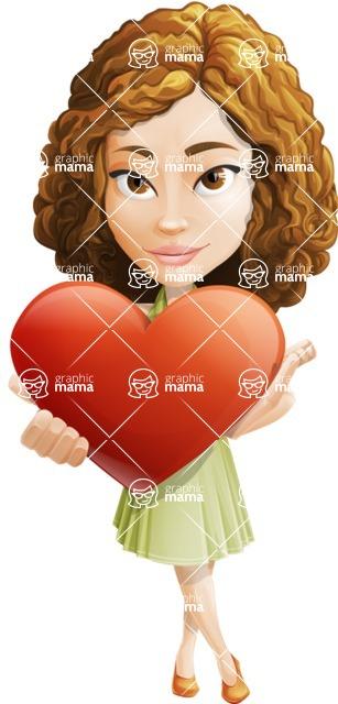 Vector Sweet Lady Cartoon Character - Love