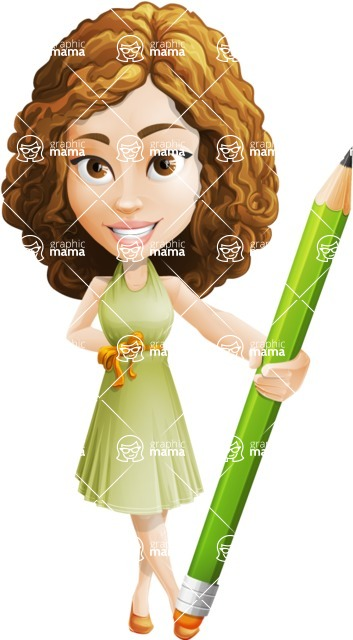 Vector Sweet Lady Cartoon Character - Pencil