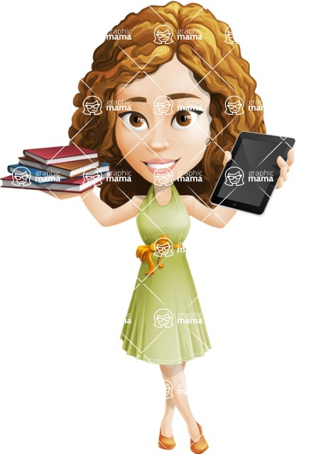 Vector Sweet Lady Cartoon Character - Book and iPad