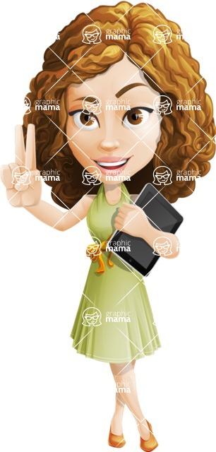 Vector Sweet Lady Cartoon Character - iPad 1