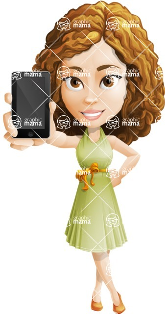 Vector Sweet Lady Cartoon Character - iPhone