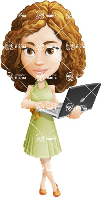 Vector Sweet Lady Cartoon Character - Laptop 1