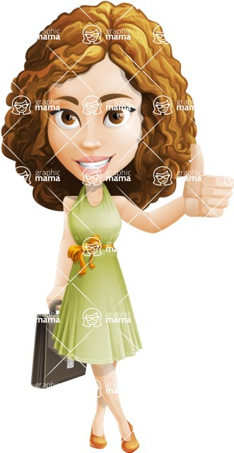 Vector Sweet Lady Cartoon Character - Briefcase 1