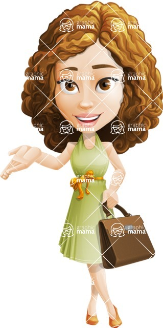 Vector Sweet Lady Cartoon Character - Briefcase 2