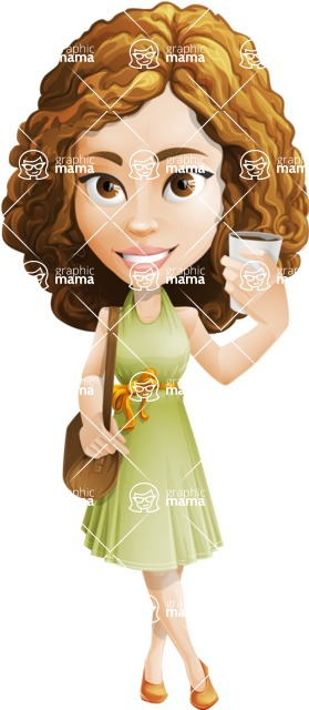 Vector Sweet Lady Cartoon Character - Travel 2