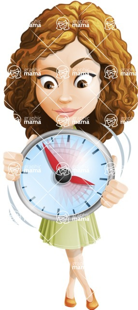 Vector Sweet Lady Cartoon Character - Time is Yours