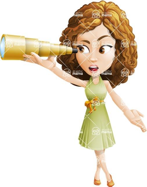 Vector Sweet Lady Cartoon Character - Telescope