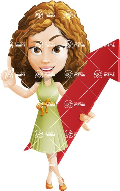 Vector Sweet Lady Cartoon Character - Pointer 1
