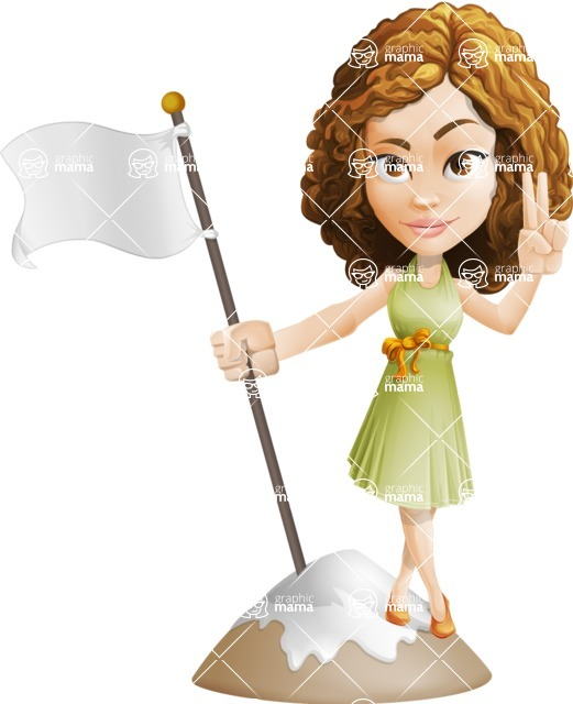 Vector Sweet Lady Cartoon Character - On Top