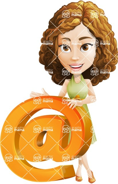 Vector Sweet Lady Cartoon Character - Email