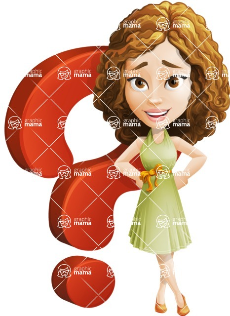 Vector Sweet Lady Cartoon Character - Question