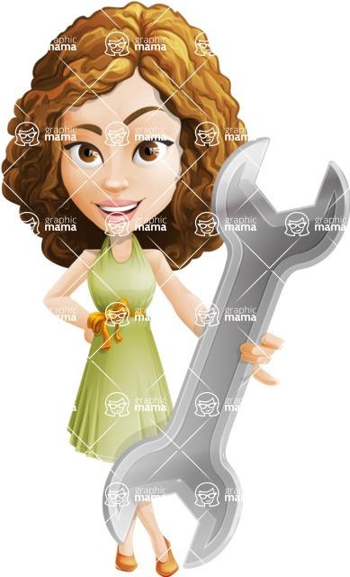 Vector Sweet Lady Cartoon Character - Repair