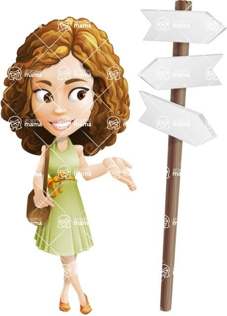 Vector Sweet Lady Cartoon Character - Crossroad