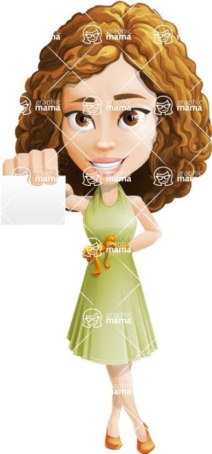 Vector Sweet Lady Cartoon Character - Sign 1
