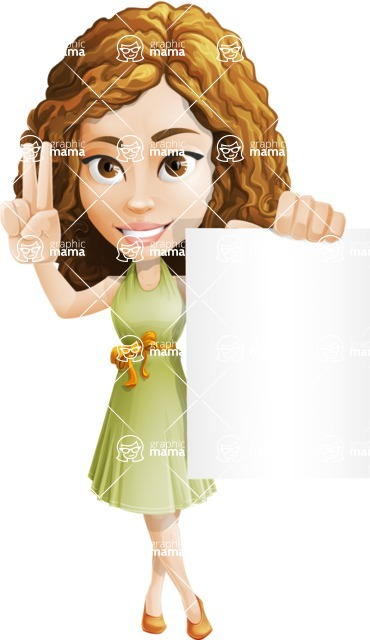 Vector Sweet Lady Cartoon Character - Sign 2