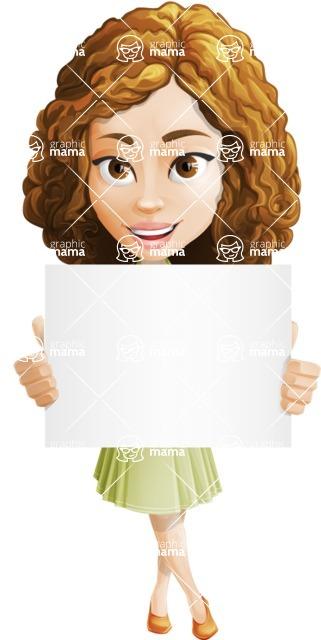 Vector Sweet Lady Cartoon Character - Sign 3