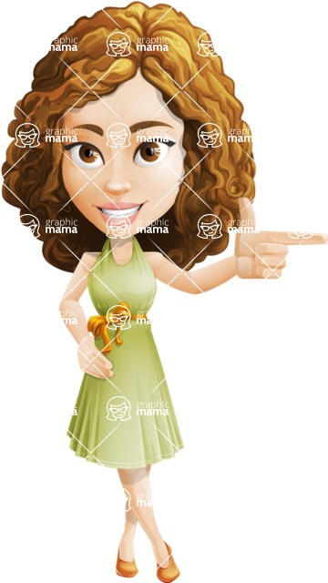Vector Sweet Lady Cartoon Character - Point 1