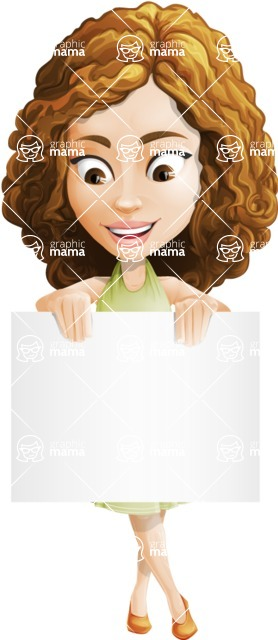 Vector Sweet Lady Cartoon Character - Sign 5