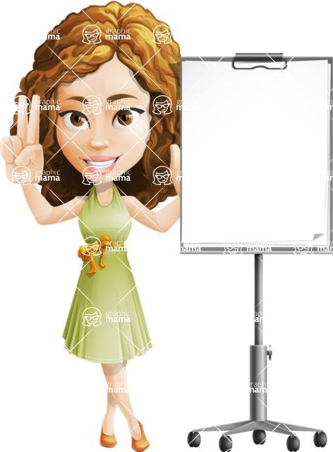 Vector Sweet Lady Cartoon Character - Presentation 1