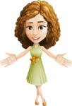 Vector Sweet Lady Cartoon Character - Hello