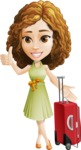 Vector Sweet Lady Cartoon Character - Travel 1