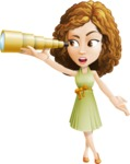 Vector Sweet Lady Cartoon Character - Telescope
