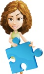 Vector Sweet Lady Cartoon Character - Puzzle