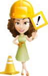 Vector Sweet Lady Cartoon Character - Under Construction 1