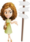 Vector Sweet Lady Cartoon Character - Crossroad