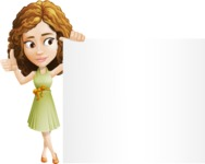 Vector Sweet Lady Cartoon Character - Sign 8