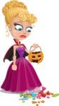 Vampire Girl Cartoon Vector Character - Being Sad With Broken Pumpkin Lantern
