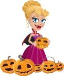 Vampire Girl Cartoon Vector Character - Celebrating Halloween With Pumpkins