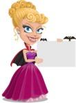 Vampire Girl Cartoon Vector Character - Holding a Blank Halloween Sign