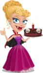 Vampire Girl Cartoon Vector Character - Holding a Halloween Cake