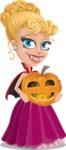 Vampire Girl Cartoon Vector Character - Holding a Pumpkin Lantern