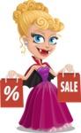 Vampire Girl Cartoon Vector Character - Holding Shopping Bags