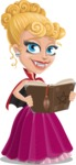 Vampire Girl Cartoon Vector Character - Making a Curse with a Book
