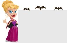 Vampire Girl Cartoon Vector Character - Making a Presentation on a Whiteboard