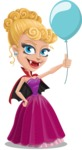 Vampire Girl Cartoon Vector Character - On a Party with a Balloon