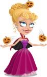 Vampire Girl Cartoon Vector Character - Playing on Halloween